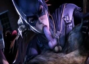 3D catwoman gives a blowjob for the beast